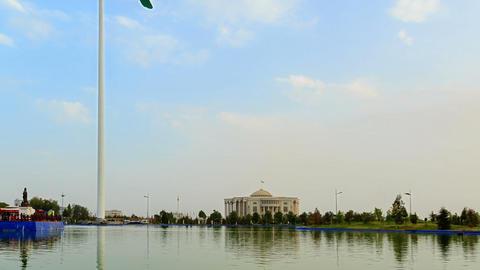 Flagpole with a flag. SunSet. Dushanbe, Tajikistan Footage