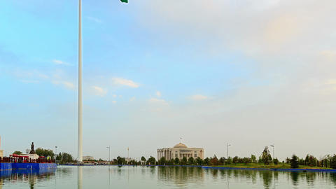 Flagpole with a flag. SunSet. Dushanbe, Tajikistan Stock Video Footage