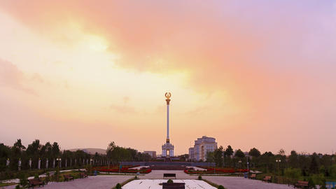 Stele with the emblem Tajikistan. Dushanbe. 4K Stock Video Footage