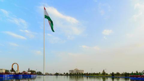 Palais des Nations and flagpole with a flag. Dusha Footage