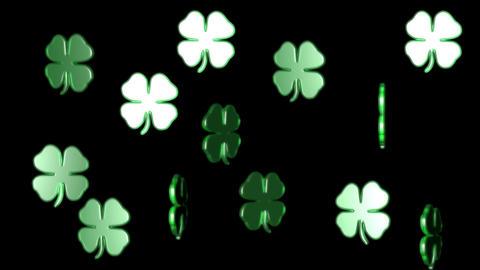 3 D lucky clover group rotating alpha Stock Video Footage