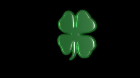 rotating 3 D lucky clover Stock Video Footage