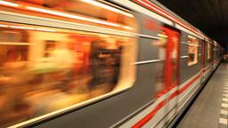 Prague Czech Republic Subway Train Station Undergr Footage