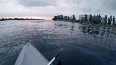 Canoe Floating On Water Footage
