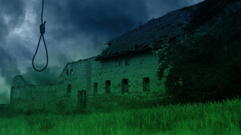 Scary abandoned farmhouse in the countryside Footage