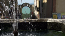 Slow Motion Water Fountain Umbria Italy Footage