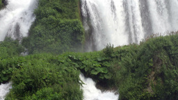 Vertical Panoramic View Mountain Waterfall Slow Mo Footage