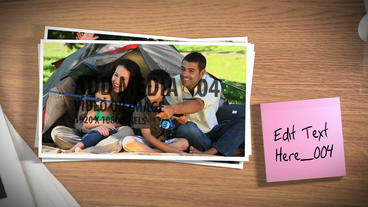 Photos with Sticky Note Description After Effects Template