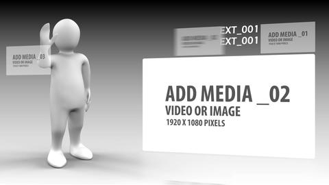3d man scrolling images through the screen After Effects Template