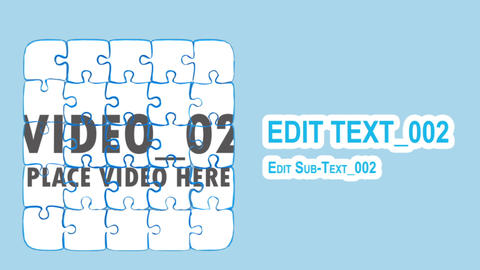 Puzzle part falling forming images After Effects Template