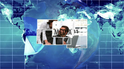 Blue Global Video Collage Animation After Effects Template