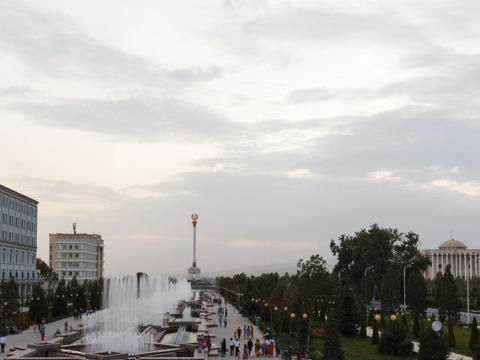 Fountains in the center of Dushanbe at sunset. Taj Footage