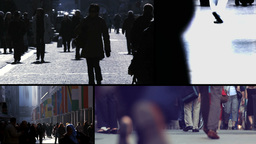 Multiscreen Urban Scene People Walking Footage