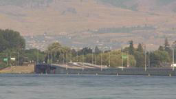 HD2009-8-1-11 Kelowna traffic on big bridge water traffic TL Stock Video Footage