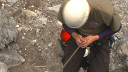 HD2009-8-2-5 rockclimbing down rappel Stock Video Footage