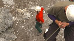 HD2009-8-2-5 rockclimbing down rappel Stock Video Footage