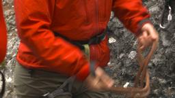 HD2009-8-4-3 rock climbing tyeingrope Stock Video Footage