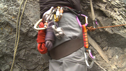 HD2009-8-4-7 rock climbing ropes and carabeners Stock Video Footage
