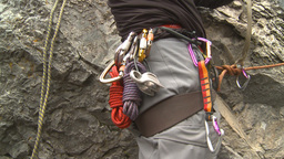 HD2009-8-4-7 rock climbing ropes and carabeners Footage