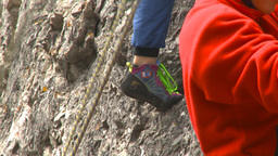 HD2009-8-4-9 rock climbing colorful shoes Stock Video Footage