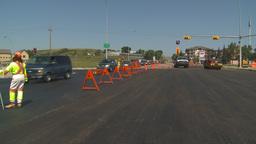 HD2009-8-5-9 detour traffic paving Stock Video Footage