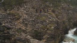 HD2009-8-10-2 hikers steep rainy trail gorge Stock Video Footage