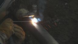 HD2009-8-20-7 gas pipe welding Stock Video Footage