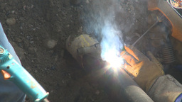 HD2009-8-20-9 gas pipe welding Stock Video Footage
