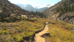 HD2009-8-20-29 hike along mtn trail Stock Video Footage