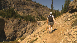 HD2009-8-21-1 woman hike steep trail Stock Video Footage