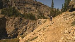 HD2009-8-21-1 woman hike steep trail Stock Video Footage