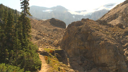 HD2009-8-21-3 steep trail pan glacier to gorge and back Stock Video Footage