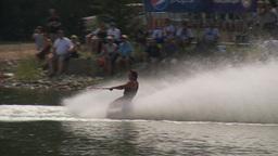 HD2009-8-23-3RC water ski comp stunt barefoot Stock Video Footage