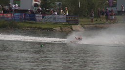 HD2009-8-23-3RC water ski comp stunt barefoot Stock Video Footage