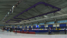 HD2009-12-1-1 Speed skating oval WS Stock Video Footage