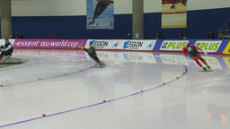 HD2009-12-1-11 Speed skating oval race corner Stock Video Footage