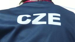 HD2009-12-1-23 Speed skate Czech jacket Stock Video Footage