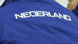 HD2009-12-1-25 Speed skate Nederland jacket Stock Video Footage