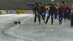 HD2009-12-1-43 Speed skaters practise Stock Video Footage