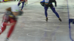 HD2009-12-1-47 Speed skaters practise lower Stock Video Footage