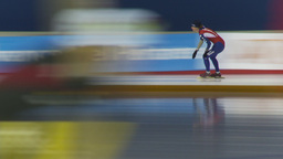 HD2009-12-1-55 Speed skaters practise blur follow Stock Video Footage