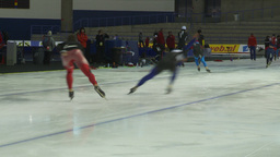 HD2009-12-1-59 Speed skaters practise Stock Video Footage