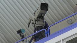 HD2009-12-1-65 broadcast TV cameraman Stock Video Footage