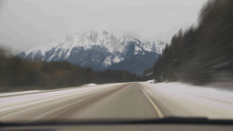 HD2009-12-3-7 winter drive on snow covered mtn highway Stock Video Footage