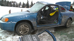 HD2009-2-1-4 auto accident 3-shot Stock Video Footage