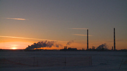 HD2009-2-1-10 Gas plant at sunrise Stock Video Footage