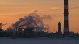 HD2009-2-1-14 Gas plant at sunrise Stock Video Footage