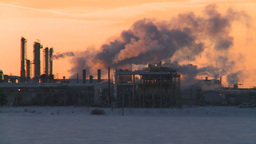 HD2009-2-1-16 Gas plant at sunrise Stock Video Footage