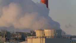 HD2009-2-1-28 Gas plant at sunrise stacks Stock Video Footage