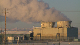 HD2009-2-1-30 Gas plant at sunrise steam Stock Video Footage